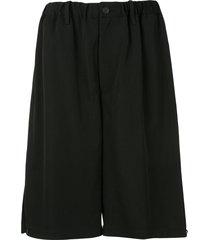 yohji yamamoto wide leg dropped crotch shorts - black