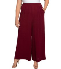 plus size women's kiyonna coraline crepe palazzo pants, size 4x - burgundy