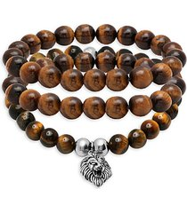 3-piece stainless steel, tiger's eye & lava bead bracelet set