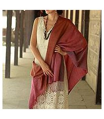 silk and wool shawl, 'twilight shimmer' (india)