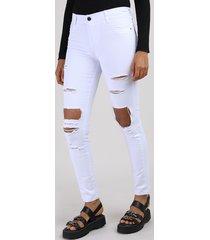 calça de sarja feminina sawary super skinny cintura alta destroyed branca