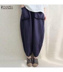 zanzea mujeres otoño retro elástico de la cintura bolsillos de lino flojos sólidos capris hip-hop harem pantalones pantalon más el tamaño de la armada -azul