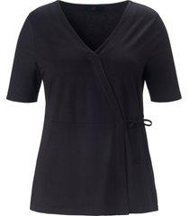 shirt in wikkelstijl korte mouwen van anna aura zwart