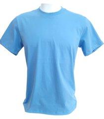camiseta a&a mega shop97 básica lisa algodão 30.1 premium azul celeste - kanui