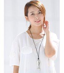vintage ciondolo di pesce corda corda lunghe collane argento antico accessori maglione per le donne