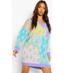 oversized gebreide trui jurk met bandana patches, bright lilac