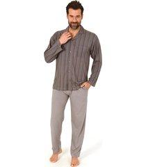 heren doorknoop pyjama normann 10190519-3xl/58-grijs