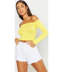 basic long sleeve bardot crop top, yellow