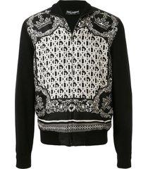 dolce & gabbana bandana-print zipped jacket - black