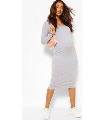 positiekleding midi-jurk met v-hals en lange mouwen, grijs gemêleerd