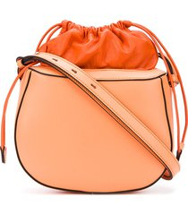 stée pouch top leather shoulder bag - orange