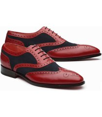 bespoke spectator wingtip oxford shoes hand crafted leather formal dress shoes