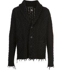 alanui cable-knit frayed cardigan - black