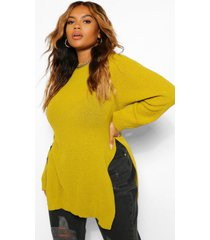 plus side split moss stitch sweater, olive