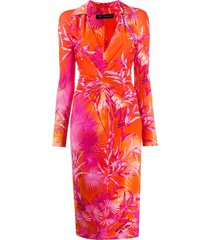 versace jungle print fitted shirt dress - orange