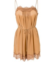 zimmermann silk lace embroidered playsuit - brown