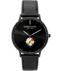 kenneth cole new york men's dress sport pride stainless steel & leather strap watch