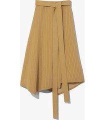 chalk stripe knit wrap skirt