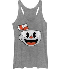 fifth sun cuphead women's big smiling face video game tri-blend tank top