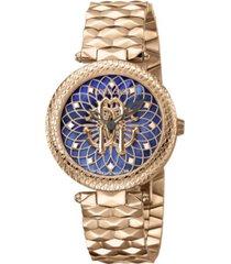 roberto cavalli by franck muller women's swiss quartz rose-tone stainless steel bracelet blue dial watch, 34mm