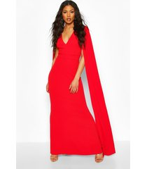 cape sleeve fishtail maxi dress, red