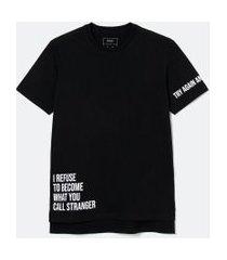 camiseta manga curta alongada estampada | blue steel | preto | pp