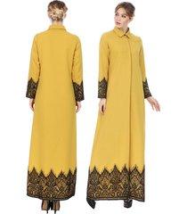 mujer musulmán kimono islámico estilo étnico encaje puntilla bata