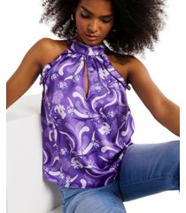 inc floral-printed cutout sleeveless blouse, created for macy's