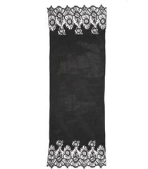women's valentino plisse pleated lace trim scarf, size one size - black