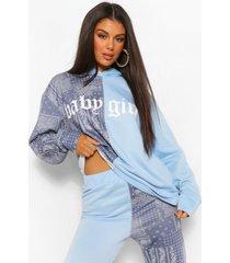 bandana colour block hoodie met tekst, blauw