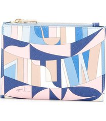 emilio pucci sirens song print compact wallet - blue