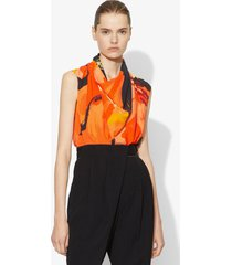 proenza schouler marocaine cowl top coral/tobacco abstract/orange 0