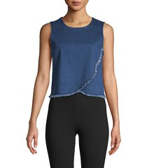 frayed stretch-cotton top