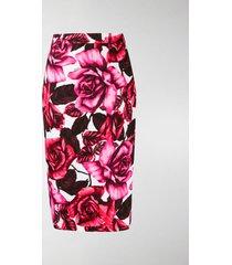 prada rose print pencil skirt