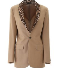 r13 blazer with animal print lapel