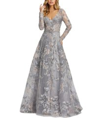 mac duggal floral embroidered gown