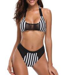 bikini con patchwork a righe in mesh a vita alta