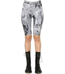 off-white cyclist shorts with botanical fantasy