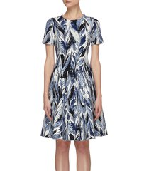 feather print flared dress