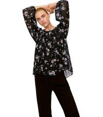blusa negra-multicolor mng