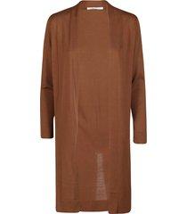 agnona brown cotton-silk blend cardigan