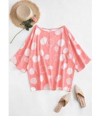 plus size polka dot batwing sleeve blouse