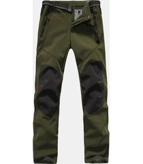 cargo pantaloni impermeabili in pile con patchwork