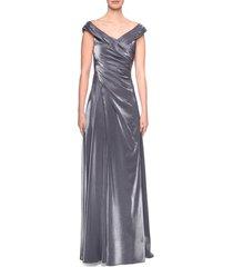 women's la femme ruched satin a-line gown