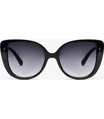 womens lost in the meow-ment cat-eye sunglasses - black