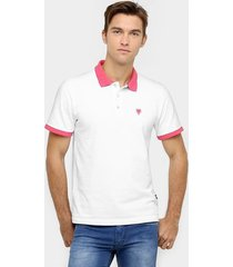 camisa polo cavalera piquet bicolor