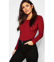 long sleeve jumbo rib t-shirt, wine