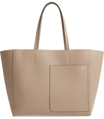 valextra grained leather tote - white