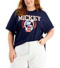mighty fine trendy plus size mickey university cotton t-shirt