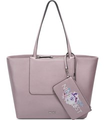cartera nine west liana tote - morado
